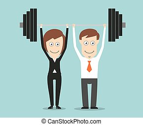 Business team holding a barbell above heads