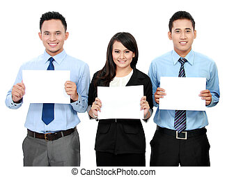 business team holding blank paper