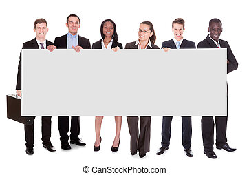 Business Team Holding Blank Placard