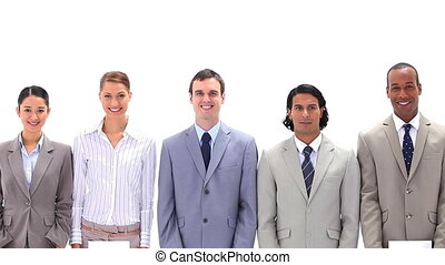 Business team holding letters which make the word FOCUS