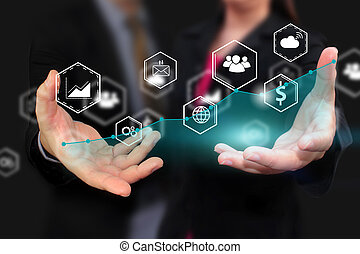 Business team holding social icons.business concept.social media concept