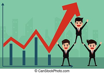 Business team holds in hand to raise the graph. Teamwork concept.