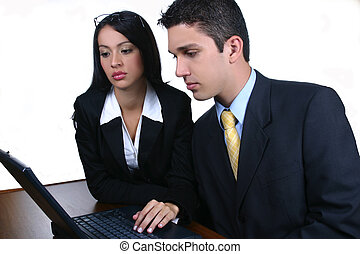 salesman and saleswoman negotiating business