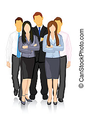 illustration of group of business people forming team