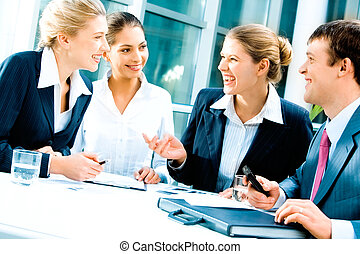 Business team - Image of laughing confident people planning ...