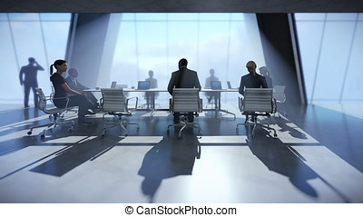 Business team in conference room, camera track to city view