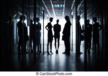 Business team in corridor