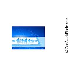 Business team in frame on blue internet background