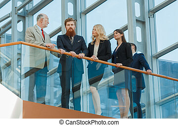 Business team in glass building