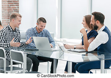 business team is discussing a new business project