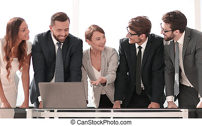 business team is discussing online information