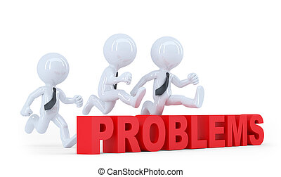 Business team jumping over a hurdle obstacle problems. Isolated