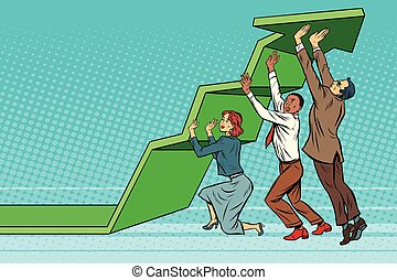 Business team lift up growth chart. Pop art retro vector...