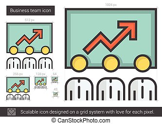 Business team line icon. - Business team vector line icon ...