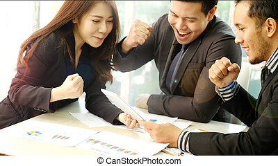 Business Team Look Excited for Achievement