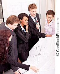 business team looking architecture project