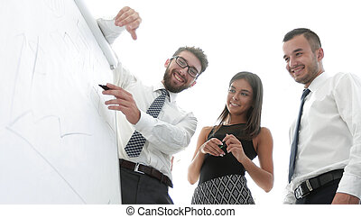 business team looking at a blank flipchart.