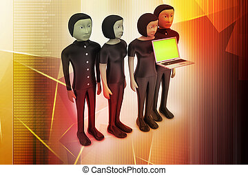 Business team looking at a Laptop