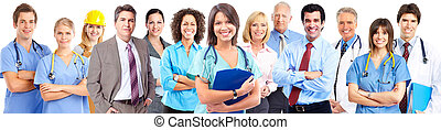 Business team. - Medical doctor woman over business group ...