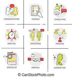 Business Team Meeting Brainstorm Process, Candidate Vacancy Consulting Communication Icon Set