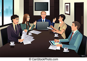 A vector illustration of business team meeting in a modern office