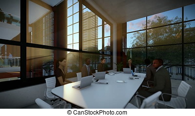 Business team meeting in conference room, evening, panning