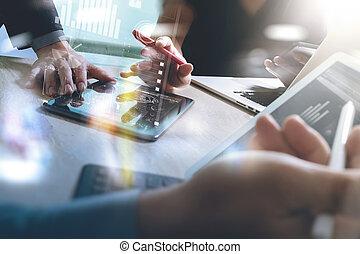 Business team meeting present. Photo professional investor...