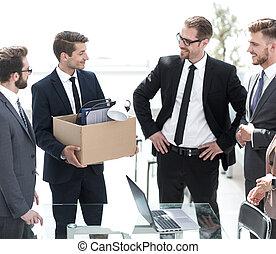business team meets a new employee