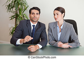 Business team negotiating in a meeting room
