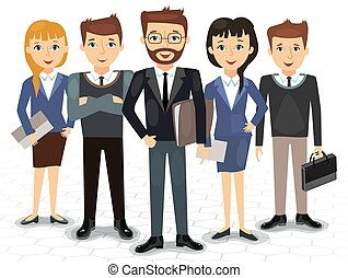 Business team of employees and the boss vector illustration