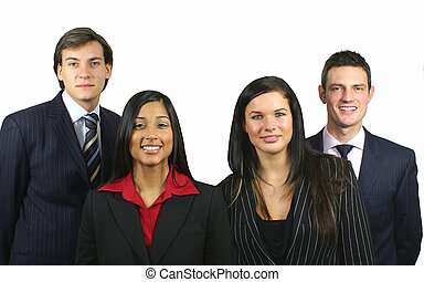 Business Team of four smiling people