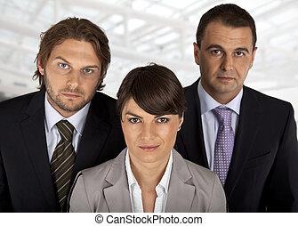 business team of three