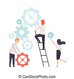 Business Team, Office Colleagues Constructing Mechanism, People Working Together in Company, Teamwork, Cooperation, Partnership Vector Illustration