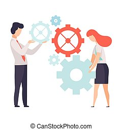 Business Team, Office Colleagues Working with Mechanism, People Working Together in Company, Teamwork, Cooperation, Partnership Vector Illustration