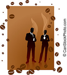 Business team on a coffee break background