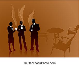 business team on coffee break internet background
