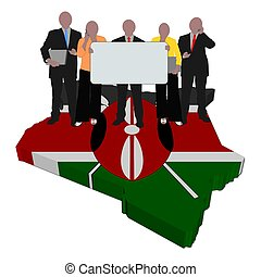 business team on Kenya map flag