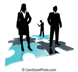 business team on puzzle field - stylized icon as abstract...