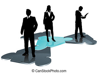 business team on puzzle field
