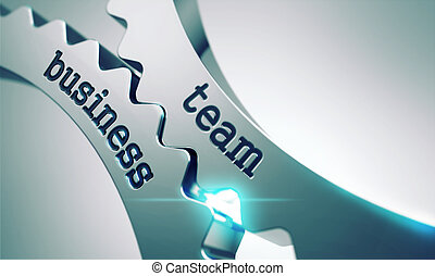 Business Team on the Cogwheels.
