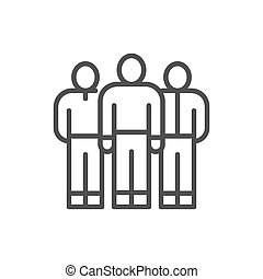Business team, people group, company workers line icon.