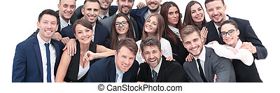 Business team people group crowd full length stand isolated