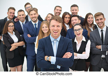 Business team people group crowd full length stand isolated on w