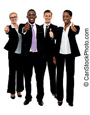 Business team people group gesturing thumbs up