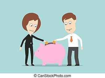 Business team putting money in piggy bank