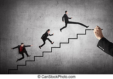 Business team race to the top stair