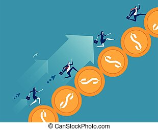 Business team running on coin. Concept business vector illustration.