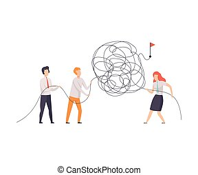 Business Team Searching for Ways to Success Symbol, Office Colleagues Solving Complicated Problem, Teamwork, Cooperation, Partnership Vector Illustration