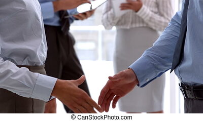 Business team shaking hand close up