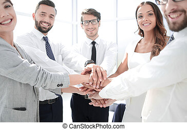 business team showing their unity